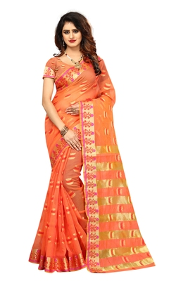 Peach woven brasso saree with blouse