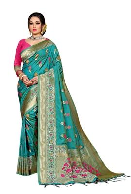 Sea green woven pure kanjivaram silk saree with blouse