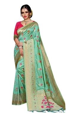Olive woven pure kanjivaram silk saree with blouse
