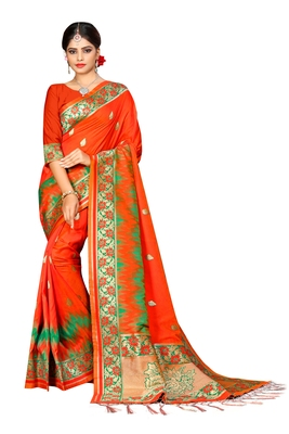 Orange woven pure kanjivaram silk saree with blouse