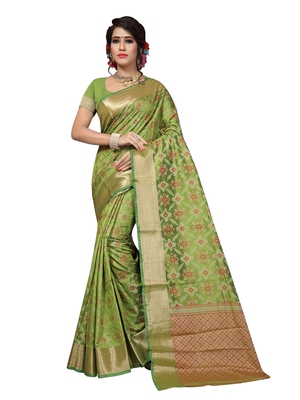 Green woven patola saree with blouse