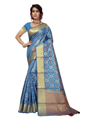 Sky Blue Woven Patola Saree With Blouse