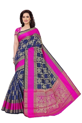 Blue woven cotton silk saree with blouse