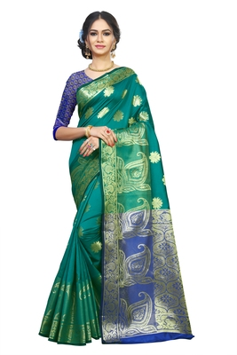 Green woven banarasi silk saree with blouse