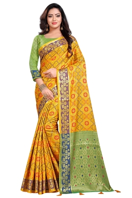 Yellow woven pure kanjivaram silk saree with blouse