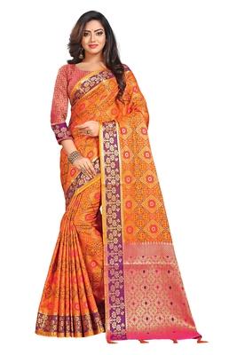 Orange woven pure kanjivaram silk saree with blouse