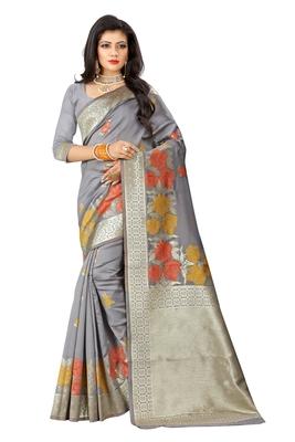 Grey Woven Pure Kanjivaram Silk Saree With Blouse