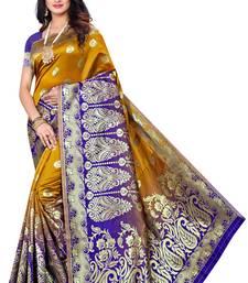 Yellow woven pure kanjivaram silk saree with blouse
