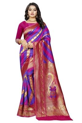 Multicolor woven pure kanjivaram silk saree with blouse