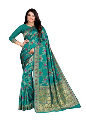 Sea green woven banarasi silk saree with blouse