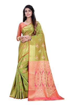 Green woven pure kanjivaram silk saree with blouse