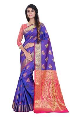 Purple woven pure kanjivaram silk saree with blouse
