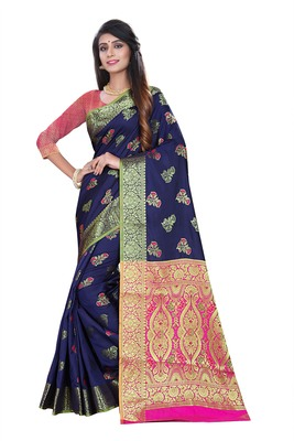 Blue woven pure kanjivaram silk saree with blouse