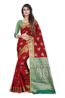 Maroon woven pure kanjivaram silk saree with blouse