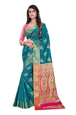 Blue woven pure kanjivaram silk saree with blouse
