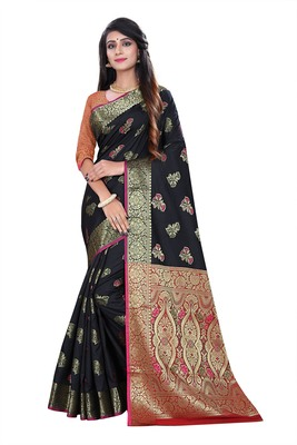 Black woven pure kanjivaram silk saree with blouse