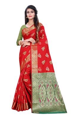 Red woven pure kanjivaram silk saree with blouse