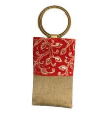 Buy Bangle Bag Silk Mobile Cover with Gold Thread Embroidey (Dark Gold) clutch online