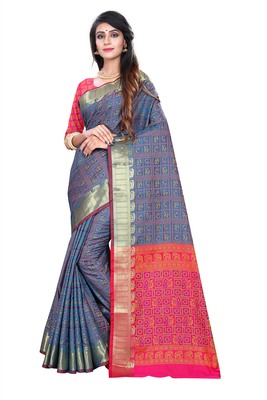 Multicolor woven pure kanjivaram silk saree with blouse