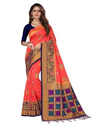 Peach woven pure kanjivaram silk saree with blouse