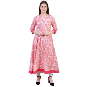 Reme Women Pink Flared Long Casual Printed Cotton Kurta