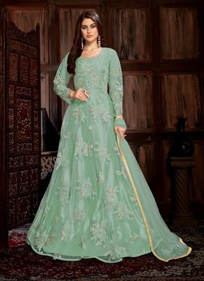 Sea-green embroidered net salwar