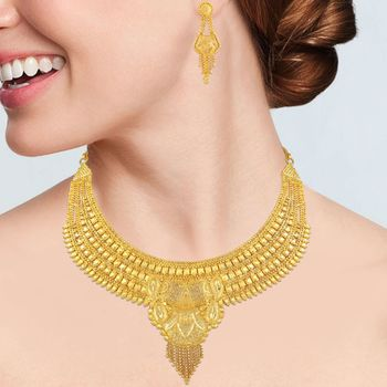 Asmitta Traditional 1 Gram Gold Plated Choker Style Necklace Set For Women