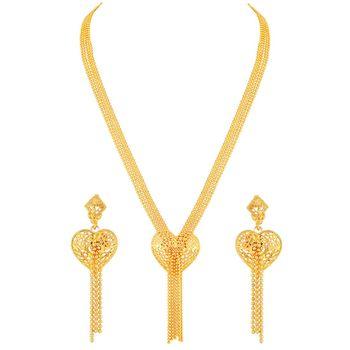 Asmitta Stylish Heart Shape 1 Gram Gold Plated Long Haram Multi String Necklace Set For Women