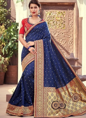 navy blue woven silk blend saree with blouse