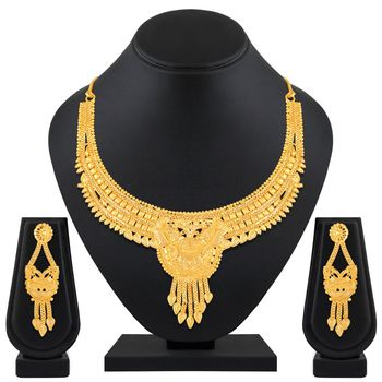 Asmitta Royal Exclusive 1 Gram High Gold Plated Choker Style Necklace Set For Women