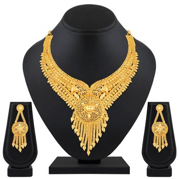Asmitta Incredible Designer 1 Gram High Gold Plated Choker Style  Necklace Set For Women