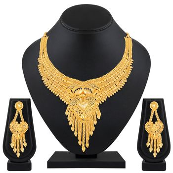 Asmitta Stylish Traditional 1 Gram High Gold Plated Choker Style  Necklace Set For Women