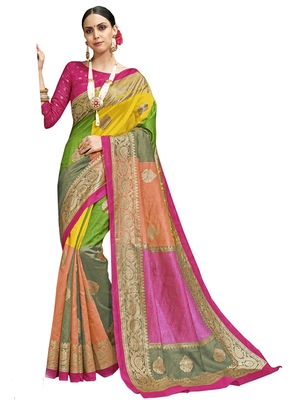Multicolor printed silk cotton saree with blouse
