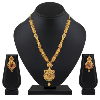 Asmitta Tradition 1 Gram Gold Plated Opera Style Necklace Set For Women and girls