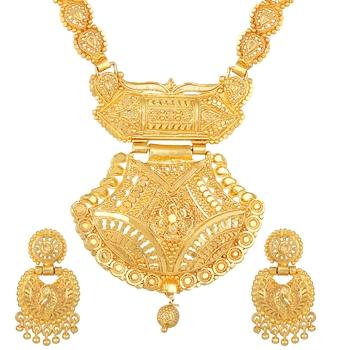 Asmitta Designer 1 Gram Gold Plated Opera Style Necklace Set For Women