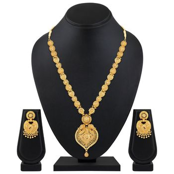 Asmitta Traditional 1 Gram Gold Plated Opera Style Necklace Set For Women