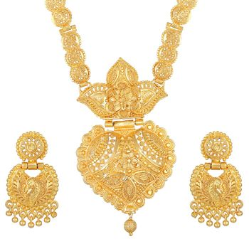 Asmitta Classic 1 Gram Gold Plated Choker Necklace Set For Women