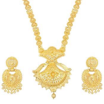 Asmitta glamorous 1 Gram gold plated Opera style Necklace set for women