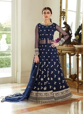 Navy-blue embroidered net salwar
