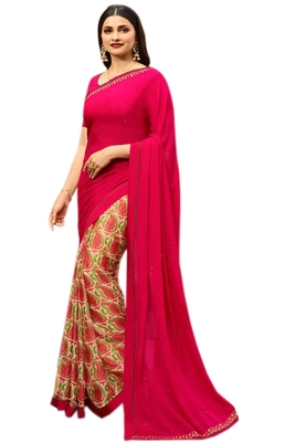 Pink printed georgette saree with blouse