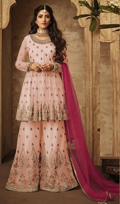 Light-pink embroidered net salwar