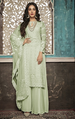 Light-green embroidered faux georgette salwar