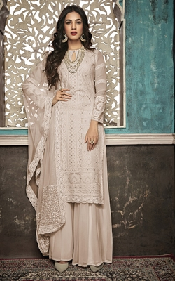 Beige embroidered faux georgette salwar