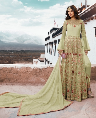Light-sea-green embroidered net salwar