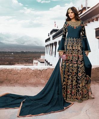 Dark-turquoise embroidered net salwar
