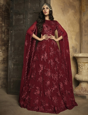 Maroon embroidered net salwar