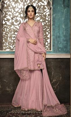 Light-lavender embroidered net salwar