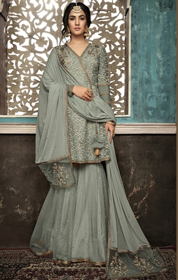 Light-teal embroidered net salwar