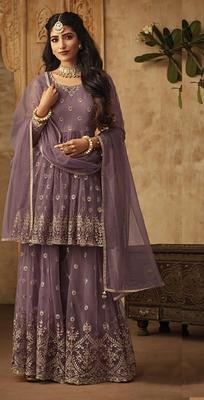 Light-plum embroidered net salwar