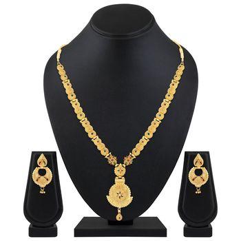 Asmitta unique designer 1 Gram gold plated Enamal work Necklace set for women